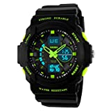 Kids Watches, Digital Analog Sports Waterproof Outdoor Wristwatch with Alarm Boys Led Watch,Children Gift (Color: Green)