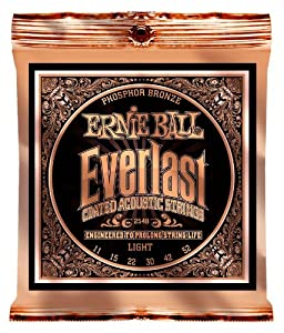 Ernie Ball 2548 Everlast Acoustic Guitar Strings Phosphor Bronze    Light  11   52  available at Amazon for Rs.1569