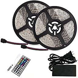 BMOUO 2 Reels 12V 32.8ft Waterproof Flexible SMD3528 RGB 600 LEDs, LED Strip Light Kit, Multi-colored, 44-key MINI IR Controller + 12V 5A Power Supply for Gardens/Homes/Kitchen/Cars/Bar