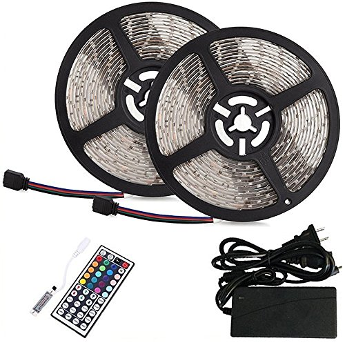 BMOUO 2 Reels 12V 32.8ft Waterproof Flexible SMD3528 RGB 600 LEDs, LED Strip Light Kit, Multi-colored, 44-key MINI IR Controller + 12V 5A Power Supply for Gardens/Homes/Kitchen/Cars/Bar (Led Strip 12v Car compare prices)
