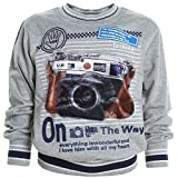 Kinder Hoodie Pullover Jacke Kapuzenpullover Sweatshirt Kapuzen Sweatjacke 20196, Farbe:Grau;Größe:152