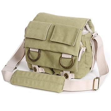 Cosmos ® Khaki Green Shoulder Canvas Outdoor Camera Bag 106