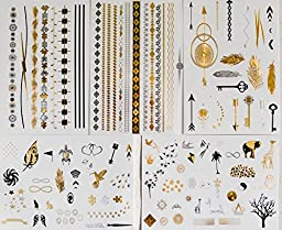Frosted Ink Designs Super Shiny Metallic Temporary Tattoos, 5 Sheets
