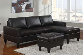All in One Sectional in Black by Poundex