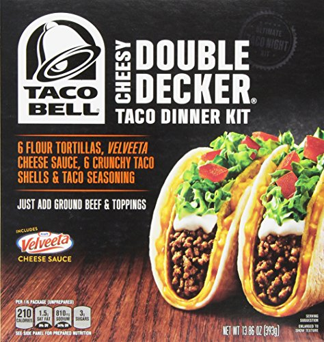 Taco Bell Home Originals Cheesy Double Decker Taco Dinner Kit, 13.86 Ounce Boxes (Pack of 10) (Taco Bell Nacho Cheese Sauce compare prices)