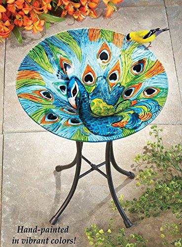 Glass Peacock Birdbath Garden Decor