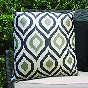 Black & Grey Geometric Design Water Resistant Outdoor Filled Cushion for Cane/Garden Furniture by Gardenista