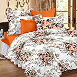 Story@Home 100% Cotton Floral Print Trendy Premium Elegant Double Bedsheets with 2 Pillow Covers, Peach, White