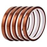 uxcell 5Pcs 8mm Width 30M Length High Temp Heat Resistant Polyimide Tape Brown
