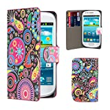 32nd® Design book wallet PU leather case cover for Samsung Galaxy Mini GT-S5570 + screen protector and cleaning cloth - Jellyfish