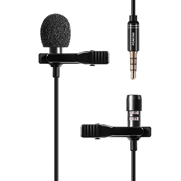Lavalier Lapel Microphone, Komking Omnidirectional Condenser Microphone with Easy Clip On System for Recording Youtube/Interview/Video Conference/Po