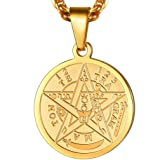 PROSTEEL Tetragrammaton Pentacle Necklace Eliphas Levi's Pentagram Protection Charm Amulet Wiccan Magical,Gold Star Pendant Hiphop Chain,The Ancient Power Name of God (Color: gold)