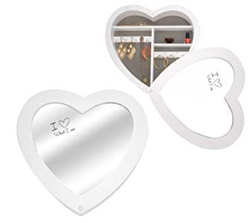 Generic QY-UK4-16FEB-20-1161 *1**2977** Mirror Jewellery Cabinet Shaped Wooden Heart S Heart Shaped Mirror Jewellery Box ery Box Wall Hanging ing Jewellery Box