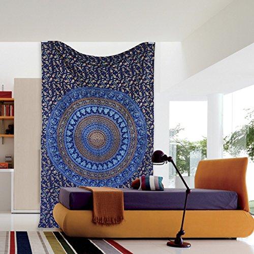 Indian Elephant Mandala Hippie Tapestry Wall Hanging Bohemian Bedspread Ethnic Dorm Décor, 82 X 55 (Approx)