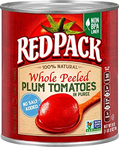 Redpack No Salt Added Whole Peeled Plum Tomatoes in Puree, 28oz Can (Pack of 12) (Canned Plum Tomatoes compare prices)