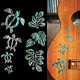 Honu/ホヌ・ファミリー & Hawaiian Leaf(アバロンBLUE)ウクレレにピッタリ インレイステッカー 273HF-BL ランキングお取り寄せ