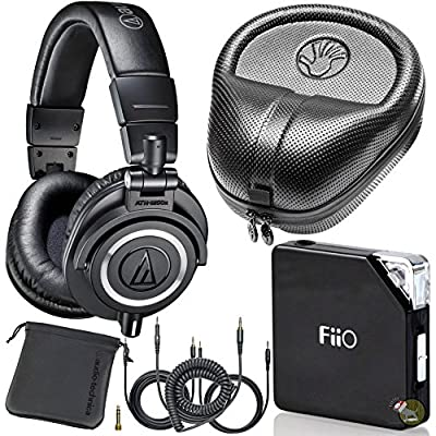 Audio Technica M50X Black DJ Studio Headphones w/ FiiO E06 Amp & Hard Case