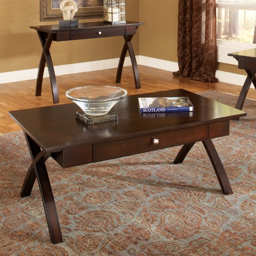 Buy Low Price Steve Silver Huntington Rectangle Cherry Wood Coffee Table Ht300c Coffee Table