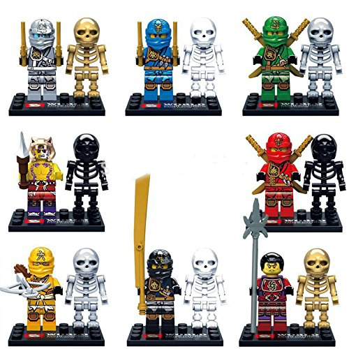 16Pcs ActionFigures MiniBlocks[TheFigure Superheroes Skull NinjaSkeletons] Minifigures Educational Toys DIY Building Blocks Brinks ()