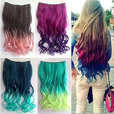 RuiChy 5 Pcs Colored Clip-on In Hair Extensions Straight Wigs Hairpieces