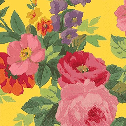 "Amscan Decorative Bright Roses Party Beverage Paper Napkins (16 Pack), 5 x 5"", Multicolored - 1"
