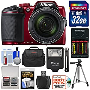 Nikon Coolpix B500 Wi-Fi Digital Camera (Red) with 32GB Card + Batteries & Charger + Case + Tripod + Flash Kit (Certified Refurbished)