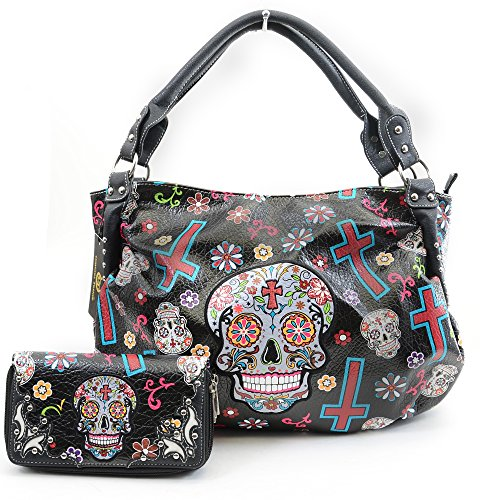 Sugar Skull Floral Cross Design Vegan Leather Boho Purse & Wallet Set