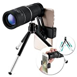 High Power Monocular Telescope,OUTERDO 16x52 Dual Focus BAK-7 Prism FMC Waterproof Monoculars with Cellphone Adapter and Durable Tripod for Bird Watch