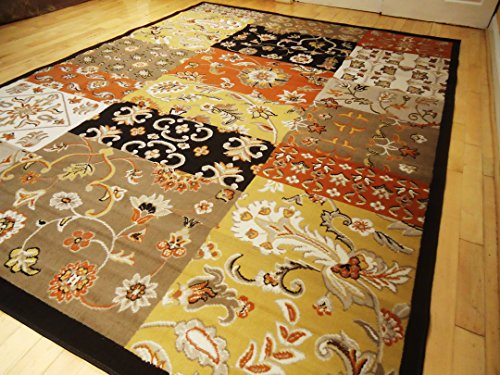 Large 8x11 Area Rug Multi-colored 8x10 Rug Modern Flower Area Rugs Orange Rug Yellow Black Beige Cream Carpet (Large 8x11)