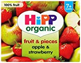 HiPP Organic From 7 + Months Puree and Pieces Apple and Strawberry with Real Apple Pieces 4 x 100 g (Pack of 6, Total 24 Pots)