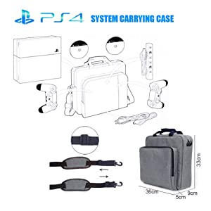 PS4 Pro Bag, Ps4 Carrying Case for Console, Laptop Backpack, Controllers, Games, , Gray Travel Bag Compatiable with Ps3 & Ps4 & Ps4 Slim & Ps4 Pro (Color: gray, Tamaño: large)