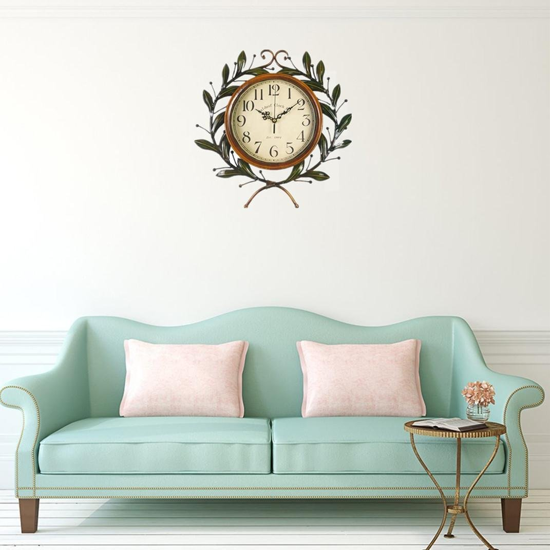 Soledi Vintage Wall Clock Classic Silent Non-ticking For Home Decoration Olive Branch Design 8