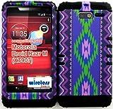 Hybrid Cover Bumper Case for Motorola Droid Razr M (Xt907, 4g Lte, Verizon) Protector Purple Tribal Aztec Snap on + Black Silicone