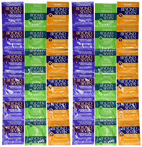 Beyond Seven Pure Pleasure Sampler Pack Including Ultra Thin, Ultra Thin Aloe Enriched, and Studded/Ribbed Sheerlon Lubricated Latex Condoms and Silver Pocket/Travel Case-36 Count