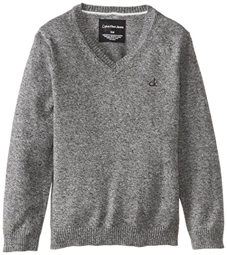 Calvin Klein Little Boys' Ck Skyline Solid V Neck Sweater, Greymarl, X-Large front-1014433