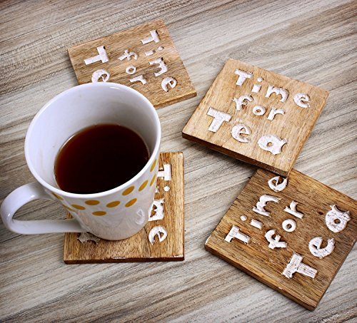 Christmas Gift Home Office Furniture - Set of 4 Wooden Square Drink Tea Coasters Handcrafted Tabletop Accessory