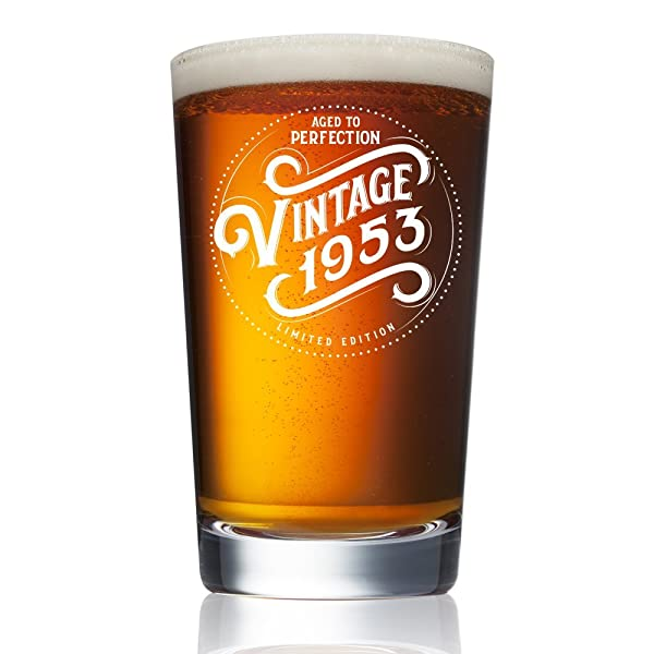 1953 65th Birthday Gifts For Women And Men Beer Glass