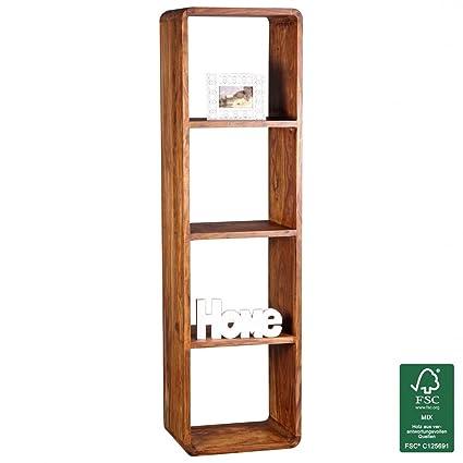 Soggiorni Ling legno massiccio Sheesham libreria 50 x 35 x 190 cm supporto scaffale