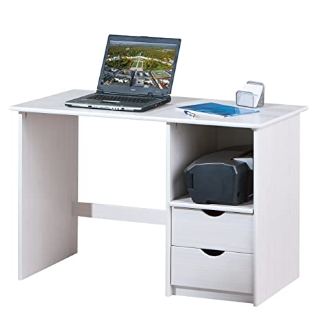 Links 20900302 Schreibtisch Sinus, Massiv Holz, 115 x 55 x 75 cm, weiß / lackiert