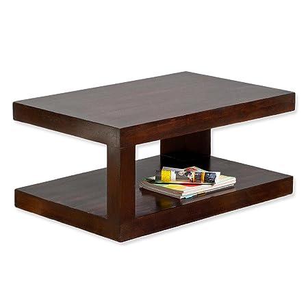 Couchtisch SHIVA Dark-Brown-A 90x60cm Akazie Massivholz Beistelltisch TV-Board