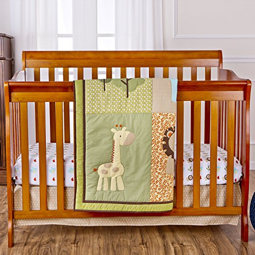 Dream On Me 3 Piece Crib Bedding Set, Safari Animals - 1