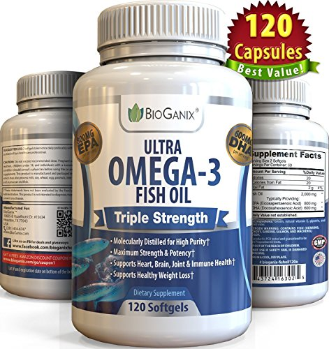 Ultra Omega-3 Fish Oil 2000mg Supplement /w 800 EPA + 600 DHA + Vitamin E (120 Softgels) Triple Strength Pharmaceutical Grade Natural Fatty Acids From Deep Blue Ocean Fish In Liquid Capsules (Omega Three Liquid compare prices)