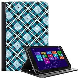 Book Shell Wallet Portfolio Blue Checkers For Asus ZenPad 8 / Memo Pad 7 / VivoTab / Fonepad / Nexus 7 8-inch Tablet