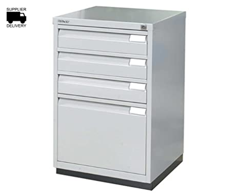 Bisley Combination Cabinet IF3E 1 Filing, 3 Drawers H711xW470xD470mm Steel - Color: Grey
