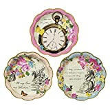 Talking Tables Truly Alice Dainty  Tea Party Plates (12 Pack), Multicolor