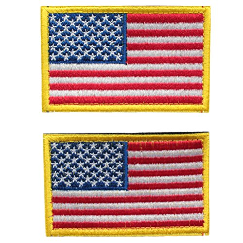 Bundle 2 pieces - Full color American US Flag Red White Blue with Gold yellow Border Velcro Patch Decorative Embroidered Badge appliques