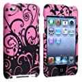 eForCity Snap-on Rubber Coated Case compatible with Apple� iPod touch� 4th Generation, Purple / Black Swirl