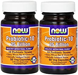 NOW Foods Probiotic-10 25 Billion, 50 Vcaps (100)