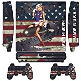Game Xcel Designer Skin For Sony Ps3 Slim Console System Plus Two(2) Decals For: Playstation 3 Dualshock Controller...