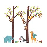 Woodland Arts 3ft x 3ft Jungle Wild Elephant Monkeys Zebra Giraffe Trees Zoo Animal Removable Vinyl Wall Decals Stickers for Children Room Nursery (Color: Animals 2)